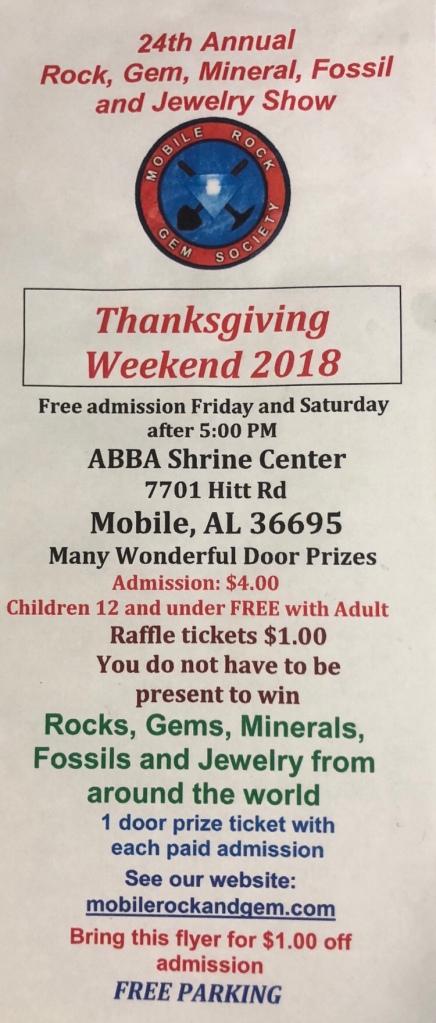 Rock and Gem Show, Mobile, AL, November 2018